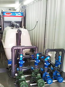 Civil work and connections to algae treatment portable plant storage