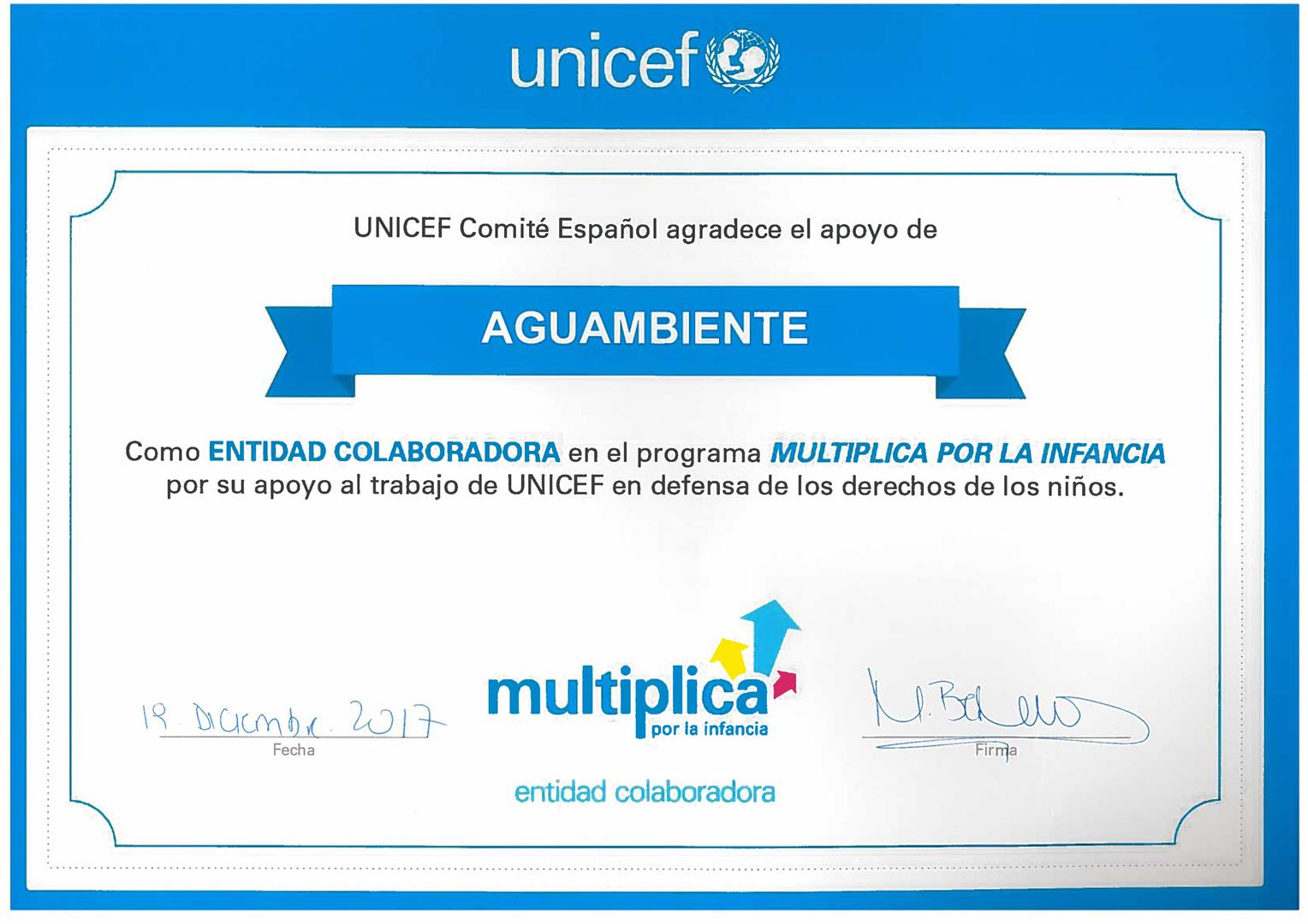 Aguambiente collaborates with Unicef